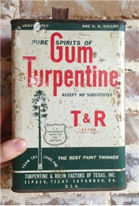 Collectible Tin Metal Can Gun Turpentine El Paso Texas One 1 Gallon