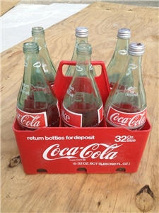 6 Pack Vintage Coca Cola Coke Carrier Holder & 6 Glass 32 Oz Bottles
