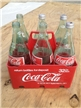 6-Pack Vintage Coca Cola Coke Carrier Holder & 6 Glass 32 Oz Green Tint Bottles