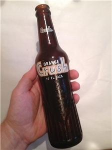 Vintage Orange Crush 1970 Soda Bottle Amber Brown 10 Oz