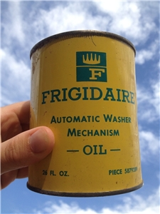 Vintage Frigidaire Automatic Washer Mecanism Oil Tin Can