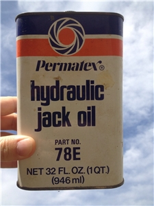 Vinatge Permatex Hydraulic Jack Oil Tin Can 32 Oz