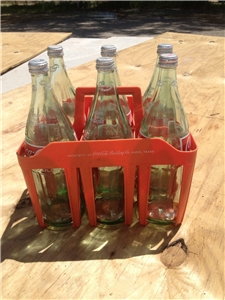 Vintage Paris Texas 6-Pack Holder W/Big 32 Oz Coke Bottles Included