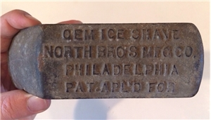 Vintage Cast Iron Cem Ice Shave North Bros Mfg Philadelphia PA Collectible Tool