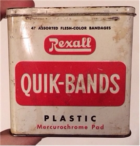 Old Vintage Rexall Quik Bands Bandaid Pads Tin Metal Can Collectible Advertising