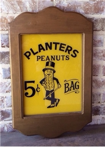 Vintage Original Planters Peanuts Painted Glass Sign Wood Frame