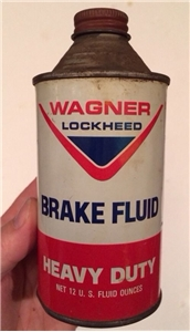 Vintage Wagner Lockheed Brake Fluid Oil Gas Tin Can Cone Top 12 Oz Saint Louis