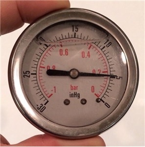 Inhg Metal Gauge With Glass Cover - Water Air Bubble - Rat Rod Decor