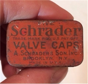 Old Vintage Schrader Valve Caps Collectible Metal Tin Hardware Store