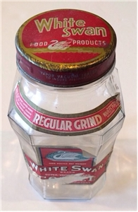 Vintage White Swan Coffee Jar Collectible