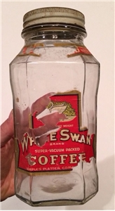 Vintage White Swan Coffee Jar Rough
