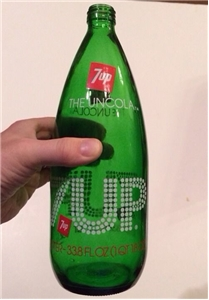 Vintage 7Up The Uncola 1 Quart Soda Bottle Green Glass ACL
