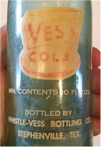 Vintage 1947 Vess Cola Soda Bottle Stephenville Texas Tx ACL Crown Top