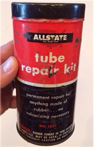 Vintage Allstate Sears Tube Repair Kit Metal Tin Can - Automobile Collectible
