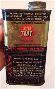 Vintage Super TMT Automobile Motor Treatment Collectibe Metal Oil Can