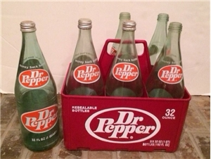 Vintage 1970's Dr Pepper 6-Pack Carrier & 6 32oz Bottles