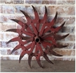 Old Antique Cast Iron Metal Plow Tiller Blade Sunflower Red Spike Wheel Decor
