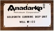 Original Old Vintage Anadarko Porcelain Metal Sign - Oil / Gas Well Goldsmith