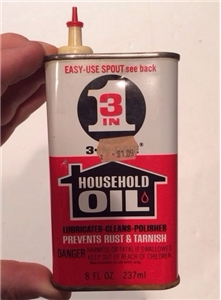 Vintage 3 In 1 Household Oil Oiler Tin Metal Can 8 Oz