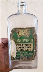 Old Vintage 1935 Longwood Straight Bourbon Whiskey Bottle American Distilling IL