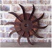 Old Antique Cast Iron Metal Plow Blade Spike Tiller - Farm Decor Steampunk Wheel