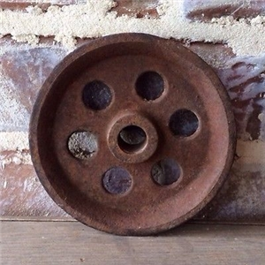 Small Cast Iron Pulley Cart Wheel - Industrial Decor 4.75""