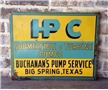 Original Vintage HPC Submersible Turbine Pump Metal Sign Big Spring TX Gas Oil