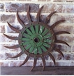 Antique Cast Iron Metal Plow Tiller Blade Sunflower Green Spike Wheel John Deere