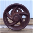 2 Vintage Factory Pulley Wheels Set - Cast Iron Metal - Antique Industrial Decor