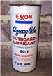 Vintage Exxon Aquaglide Outboard Lubricant 50:1 Tin Metal Can Cardboard Label