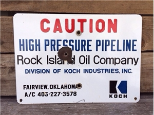 Vinatge Original Rock Island Oil / Gas Co Koch Porcelain Metal Sign Oklahoma