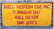 Vintage Original Shell Western E&P Oil Gas Lease Metal Tin Sign Well 92W Texas