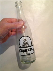 Vintage Squeeze Soda Bottle 1972 Royal Crown 12 Oz Sturgis Michigan Mi ACL