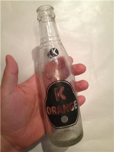 Vintage K Orange ACL Soda Bottle 7 Oz 1957 Crown Top