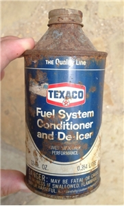 Vintage Texaco Oil Gas Cone Top Metal Can Fuel System Conditioner & De-Icer