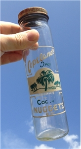 Vintage Copelands Candies Coconut Nuggets Fort Worth Texas Tx Glass Bottle Jar