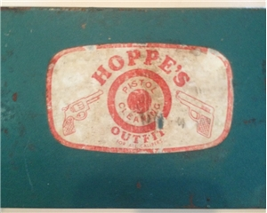 Vintage Hoppe's Metal Tin Box Pistol Gun Cleaning Kit Hunting Cabin Decor