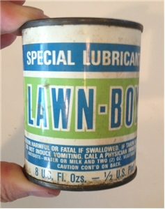 Vintage Lawn-Boy Mower Lubricant Oil Metal Tin Can Sealed 8 Oz Collectible