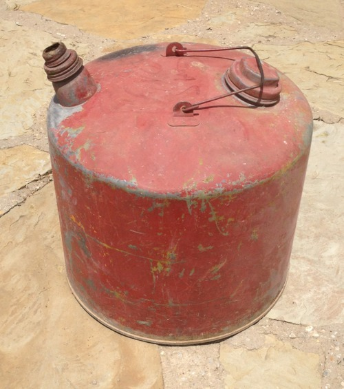Vintage 5 Gallon Red Gasoline Metal Can
