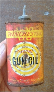 Old Vintage Winchester Gun Oiler Tin Can Lead Spout Hunting Cabin Decor