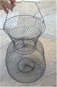 Vintage Galvanized Wire Metal Fish Live Bait Basket Cage Fishing Cabin Decor