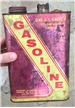 Old Vintage One 1 Gallon Gasoline Tin Metal Can Red / Yellow - Farm Decor