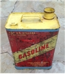 Old Vintage Gasoline Two 2 Gallons Metal Tin Can Red / Yellow - Farm Decor