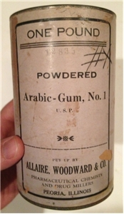 Old Vintage Powdered Arabic Gum Allairr Woodward Co Peoria Illinois Tin Can