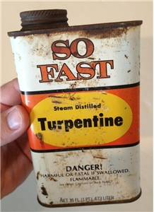 Old Vintage So Fast Turpentine Tin Metal Oil Can Gainesville Texas Tx