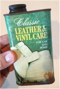 Old Vintage Leather Vinyl Care Tin Metal Oil Can Arlington Texas Tx