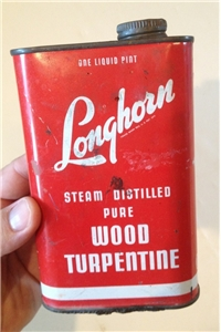 Old Vintage Longhorn Wood Turpentine Metal Tin Can San Antonio Texas Tx