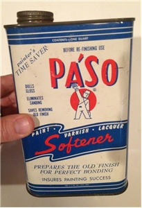 Old Vintage Paso Paint Varnish Softener Tin Metal Oil Can 1 One Quart