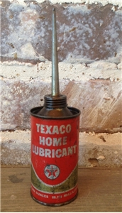 Vintage Small Texaco Home Lubricant Oiler Can Tin Metal W/ Spout 3 Oz