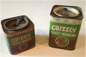 Vintage Pair Of Grizzly Faucet Washers Tin Metal Cans Hardware Store Kirkhill
